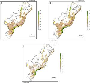 Map showing log10 of maximum functionally connected area (ha) values for 10,000ha landscapes (see colour gradient) in Albers equal area projection. Functional connectivity was based on an inter-patch dispersal distance of 0m (A) and 150m (B). Panel C shows the difference in connected area when inter-patch dispersal distance is increased from 0m (A) to 150m (B).