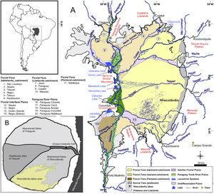 Overview map of the Pantanal wetlands (modified from Guerreiro et al., 2018). Inset map (upper left) shows the location of the Pantanal basin (gray) in South America. (A) Hydrogeomorphology of the Pantanal. Numbers correspond to important fluvial features that comprise the surficial geology of the basin. Note the location of the Upper Paraguay River along the western margin of the basin. (B) Schematic map of the Taquari River megafan. Nhecolândia is a fossil lobe of the Taquari system&#59; the southwestern region is the primary lake district, where >600 soda lakes currently mark the landscape.