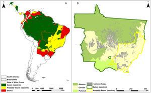 (A) Status of white-lipped peccaries in Central and South America, (B) with emphasis on the state of Mato Grosso, Brazil, where maize and soybean plantations are expanding in the Amazon biome.