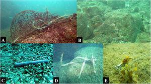 Examples of abandoned, lost or otherwise discarded fishing gear, Arvoredo Marine Biological Reserve, Brazil. (A) Ghost nets and ropesropes&#59; (B) fishing line&#59; (C) fishing lead&#59; (D) anchor&#59; (E) hook-and-line (Photos A–D: Jessica Link&#59; Photo E: Edson Faria Júnior).