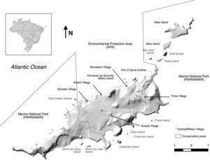 Map of Fernando de Noronha archipelago (English place names).