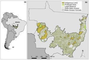 (a) Location of the wider study area in the Brazilian cerrado biome within the 903,357-km2 state of Mato Grosso, Brazil; (b) and the spatial extent of the cerrado biome within Mato Grosso. Protected areas under the Brazilian National System of Conservation Units (SNUC) and Indian Lands are indicated by green and orange polygons, respectively. Light green contours indicate Legal Reserves within 48,762 private landholdings. (For interpretation of the references to color in this sentence, the reader is referred to the web version of the article.)