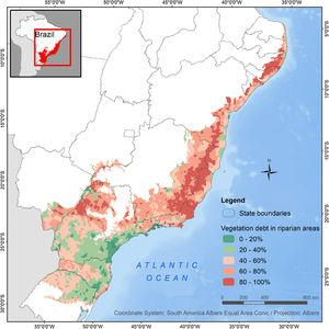 Vegetation debt in riparian areas per municipality in the Atlantic Forest biome, Brazil. Color scale shows the percentage of riparian areas of each municipality that must be restored in order to comply with the Brazilian Law.