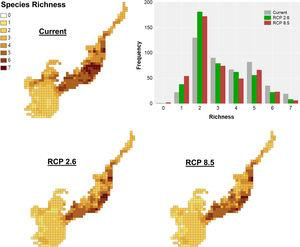 Climate change acting on spatial patterns of species richness. Species richness of primates in the current, in the optimistic (RCP 2.6) and the pessimistic (RCP 8.5) scenarios of climate changes in the Brazilian Atlantic Forest. Histogram showing the frequency of cells with different richness values in the current and future scenarios.