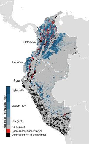 Importance of sites (i.e. 8.4km×8.4km grid cells) for 22 species of Neotropical migratory birds, based on spatial prioritizations using eBird-generated models, and mining concessions in Colombia, Ecuador, and Peru. Percentages indicate percentage of bird populations that would be supported if the site were protected, with 10% being most important and 50% being least important.