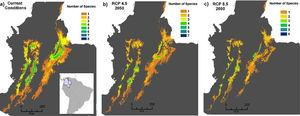 Potential distribution maps overlaid for the 30 species of anurans assessed. Under current climatic conditions (a) climate stabilization scenario (b), and trend scenario (c), both scenarios to 2050.