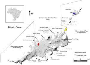 Fernando de Noronha archipelago map. Sampling sites coloured. Credit: Ricardo Dias.