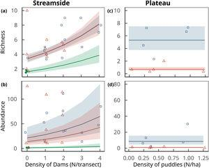 Amphibian richness (upper row) and aggregate abundance (lower row) per sampling station as a function of the density of dams along streams (left column) and puddles in plateaus (right column) in forests (solid green circles), pastures (open blue squares) and soybean fields (open red triangles). Curves represent trends (± 1 standard errors of estimated values) predicted by the best supported model (generalized linear models with random effects of the transects). Note that in plateaus only land use had a significant effect on amphibian abundance and richness, which is depicted by the horizontal lines of predicted values and standard errors. In primary forest plateau transects no amphibian species were recorded, and the model was fitted only to data gathered in soybean and pastures. Points are jittered along x and y axes to improve data visualization.