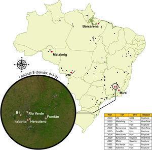 Distribution of all tailing's dams along Brazilian territory. Red dots: tailing dams failures; Black dots: tailing dams. Source: Agência Nacional de Mineração (ANM).
