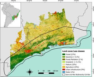 Spatial distribution of land cover and use classes in the study area (∼207,024km2) located in the Brazilian Atlantic Forest. The figure in the upper left corner shows the location of the Atlantic Forest in the Brazilian territory and the location of the study area within the biome (in red). The area delimited by the black outline in the main figure refers to the limits of the Serra do Mar biodiversity corridor. The values in parentheses indicate the percentage of the study area occupied by each land cover and use class computed using the 2018 land cover/use map provided by MapBiomas database (MapBiomas, 2019).