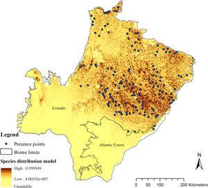 Giant armadillo (Priodontes maximus) potential distribution model (SDM) in the state of Mato Grosso do Sul, Brazil, with the presence points used for modeling.