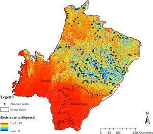 Friction surface for giant armadillo (Priodontes maximus) dispersal and presence points in the state of Mato Grosso do Sul, Brazil.