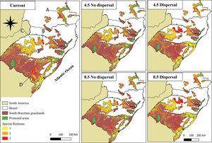Species richness of palm species in the South Brazilian grasslands under current conditions and the different future emissions (RCPs 4.5 and 8.5) and dispersal scenarios for 2050 obtained from the ESM models. A: Campos Gerais, B: Planalto Médio, C: Campos das Missões, D: Serra do Sudeste.