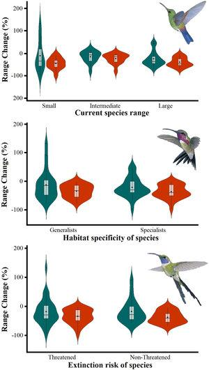"""Differences in the proportion of range change (%) due to climate-induced contraction for the non-migrant hummingbird species (n=49 spp.) in Mexico, under the two considered dispersion assumptions (contiguous dispersion in green, no dispersion in red), considering the species extinction risk, degree of geographical restriction, and habitat specificity. The Kruskal–Wallis tests only showed statistically significant differences (χ2=11.9, df=5; P=0.03) for species vulnerability among the range size categories. Birds shown in the figure are Saucerottia cyanura (small range; upper panel), Calothorax pulcher (specialist; in the middle panel), and Doricha enicura (Threatened; lower panel). The bird pictures were taken from """"Colibríes de México y Norteamérica"""" (Arizmendi and Berlanga-García, 2014)"""