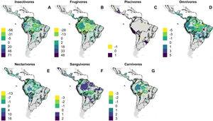 Projected change in richness of bat species according to feeding habits and under the business-as-usual scenario of climate and land use changes (B.A.U). Dispersal is assumed to be constrained so that bat species have ability to disperse only over land cover analog to current occurrence patterns. (A) Insectivores, (B) Frugivores, (C) Piscivores, (D) Omnivores, (E) Nectarivore, (F) Sanguivores and (G) Carnivores.