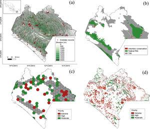 Conservation polygons in Chiapas' region. (a) Elevation and sampling of records, (b) Federal PNA's, voluntary conservation areas and Terrestrial Priority Regions (TPR); (c) Terrestrial Priority Sites and (d) Priority Restauration Sites.