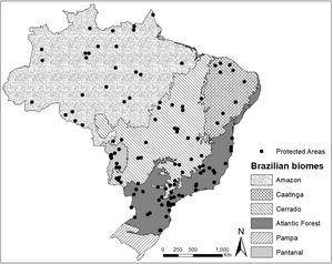 Distribution of protected areas evaluated in relation to the Brazilian biomes.