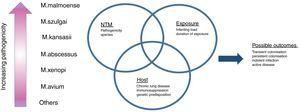 The complex interplay determining the development of NTM pulmonary disease.