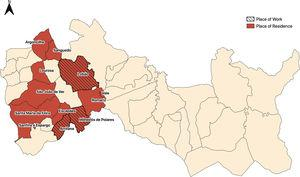 Entre Douro e Vouga I municipalities — Arouca and Santa Maria da Feira: parishes according to occupation and residence of cases of poly-resistance to isoniazid and streptomycin in 2009 and 2018. Arrifana, Escapães and Milheirós de Poiares had a connection with 60% of the total cases.