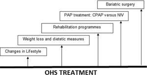 Treatment in OHS. OHS must be treated multidisciplinary, including lifestyle changes, dietetic measures and weight loss, rehabilitation programmes, PAP treatment (CPAP or NIV) and bariatric surgery (especially for younger patients). Abbreviations: CPAP: continuous positive airway pressure; NIV: noninvasive ventilation; PAP: positive airway pressure; OHS: obesity hypoventilation syndrome. Authors: Victor R. Ramírez Molina; Juan F. Masa Jiménez.