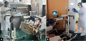 Exercise with the patient lying in a supine position (A); exercise in a sitting position with the cycle ergometer positioned laterally to the bed (B), distancing between patient and physiotherapist is possible during the exercise session (A and B).