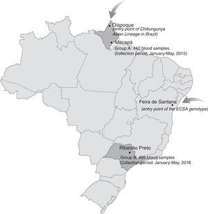 Map of Brazil, demonstrating the points of entry of both Chikungunya virus genotypes i.e. the Asian and the East/Central/South African (ECSA) lineages and the regions from where blood samples were collected.