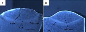 Macrostructure of P91 weldments (a) water cooled, (b) air cooled.