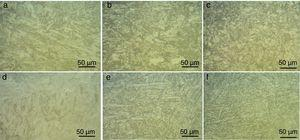 Optical micrograph of P91 weldments in water cooled (a) weld fusion zone, (b) CGHAZ, (c) FGHAZ; in air cooled condition (d) weld fusion zone, (e) CGHAZ, (f) FGHAZ.