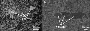 Micrograph of weld fusion zone in water cooled condition (a) optical, (b) SEM.
