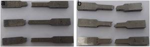 Tensile strength samples (a) stir cast (b) squeeze cast.