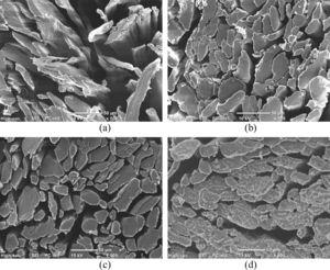 Scanning electron microscopic images of all woven hemp fabric samples fibres in cross-sections; (a) untreated, (b) NaOH, (c) FR, and (d) NaOH+FR.
