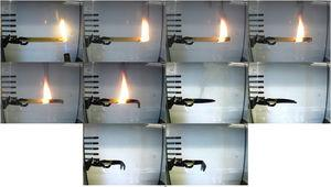 Time-elapsed photos of burning test on the untreated sample.
