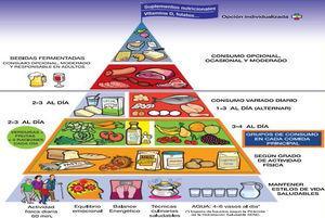 Pirámide alimentaria y proporción de raciones de consumo diario y ocasional para adultos sanos7.