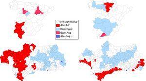 Cáncer de pulmón en España y Andalucía (2013-2017). LISA clúster en hombres y mujeres. Puede apreciarse esta figura a todo color únicamente en la versión electrónica del artículo.