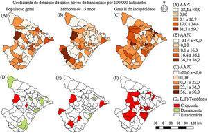 Distribuição espacial dos percentuais de variação médios anuais e classificação da tendência dos indicadores de magnitude da hanseníase em Sergipe, Brasil, 2001‐2015. AAPC, variação percentual anual média (do inglês, average annual percent change).