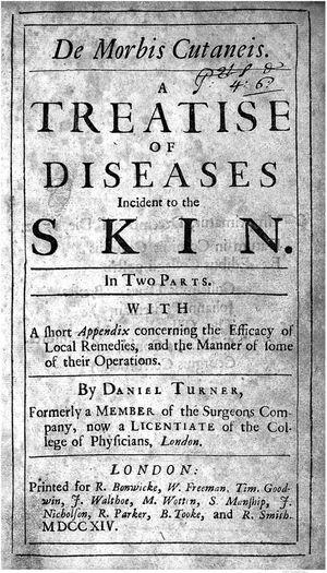 """Tratado """"De Morbis Cutaneis"""", de Daniel Turner (1714). Fonte: De Morbis Cutaneis, Londres, 1714.33"""